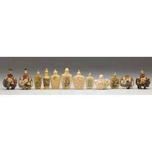 Ivory snuff bottles twelve includes five figural and seven inkdecorated 20th c largest 3 x 2 14
