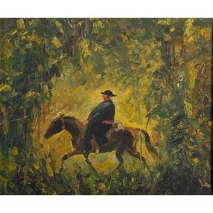Bernard badura american 18961986 oil on board painting of a man on horseback in carved wooden frame signed frame by b badura bucks county pa 14 14 x 16 14