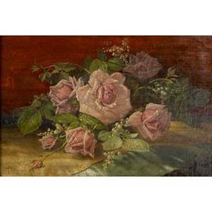 Edward chalmers leavitt american 18421904 oil on canvas still life with roses and lilyofthevalley 1892 framed signed and dated 12 x 18