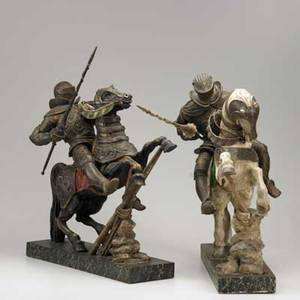 Italian carved wood figures two knights on horseback with polychrome decoration on faux marble bases 20th c taller 26