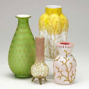 Victorian art glass four vases 19th c tripod footed ruffle top lobed and green satin tallest 9 34
