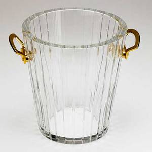 Baccarat crystal ice bucket with dore bronze mounts 20th c marked 9 x 8 dia