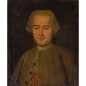 19th c british portrait oil on canvas of a gentleman with family crest framed 22 x 18
