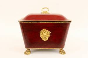Brick Red  Gilt Accented Papier Mache Lidded Bin