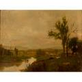 European school painting oil on canvas of a panoramic landscape early 20th c framed 24 x 36