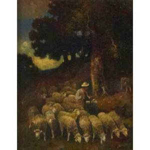 Charles emile jacque french 18131894 oil on canvas of pastoral landscape with shepherd and flock framed signed 14 x 11 12