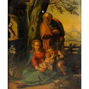 19th c german school oil on tin religious scene of the holy family in a pastoral landscape framed 13 14 x 11 14