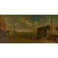 Pintor italian 20th c oil on canvas of a venetian scene framed signed 24 x 48