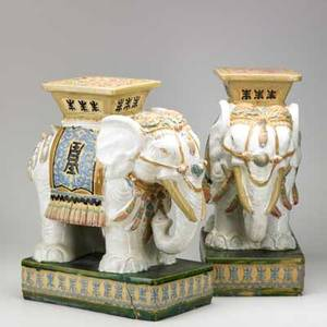 Pair of asian garden seats elephant form 20th c 10 x 17 12 x 9 12