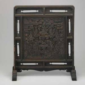Chinese table screen center panel with carved figures and animals in wood frame 18th c 20 12 x 17 34 x 9 12