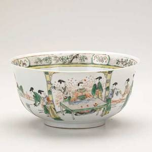 Chinese porcelain bowl famille verte decoration late 19th c 4 14 x 8 12 dia