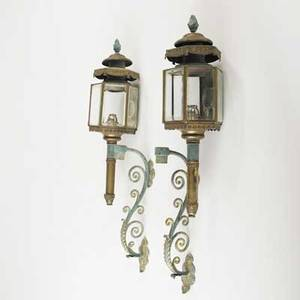 Pair of coach lanterns brass with painted accents flame finials 19th c with brackets 30 x 8 12