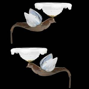 Pair of bronze art nouveau sconces in the shape of flying doves with etched opalescent glass wings and shades french ca 1910 glued repair to interior of one wing 10 x 9 x 14