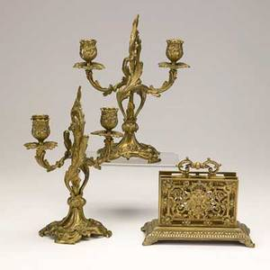 Dore bronze items pair of floriform candelabra together with a letter rack 19th c marked candelabra 11 x 8 x 3 12