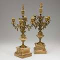 Pair of bronze and marble candelabra fivearm probably french 19th20th c 22