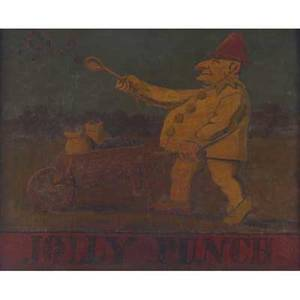 19th c british pub sign oil on panel jolly punch framed 27 x 39