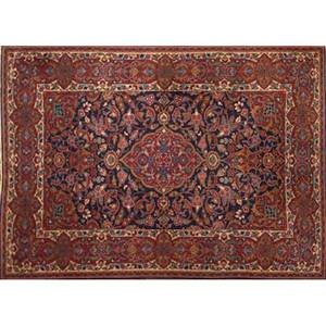 Persian kashan oriental rug blue center medallion with all over floral design 20th c 83 x 54