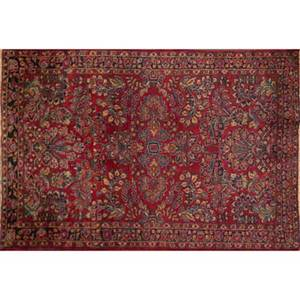 Two sarouk persian area rugs both red ground and all over foliate design 20th c larger 61 x 41