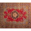 Persian oriental rug red center medallion with all over floral design and blue border 20th c 152 x 118