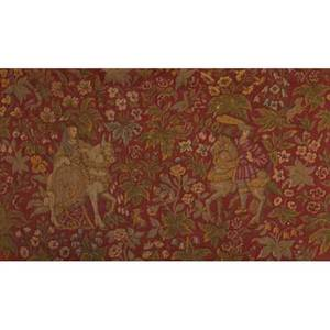 Flemish tapestry medieval equestrian scene with foliate design on a red ground 18th c 62 x 38