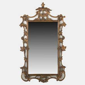 Gilt mirror pierced carved frame 19th c 43 x 25