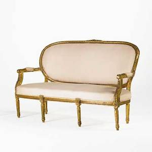 Louis xvi style sofa gilt frame with upholstered seat and back 19th c 38 x 62 x 29