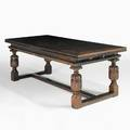 Renaissance revival refectory table oak with stretcher base carved legs 20th c two 36 leaves 31 x 39 x 84