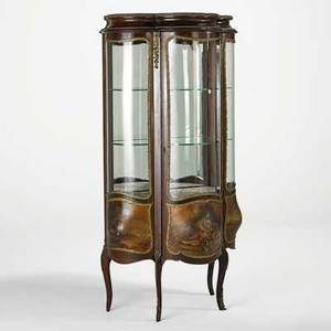 Louis xv style curio cabinet vernis martin decoration with bronze mounts glass shelves and mirrored back 20th c 57 x 29 x 17 12