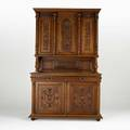 French renaissance revival buffet threepiece in walnut with heavily carved paneled doors ca 1900 100 x 63 x 22 12