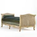 French daybed caned head and footboard velvet cushions with bolsters 20th c 34 x 88 x 37