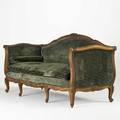 Louis xv sofa carved walnut frame upholstered with loose cushions ca 1920 38 x 76 12 x 31