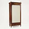 French empire armoire mahogany with banded inlay bronze mounts and beveled glass door 19th c 86 x 39 x 19
