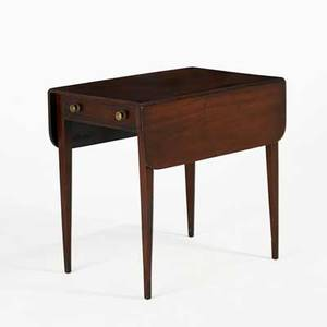 English pembroke drop leaf table mahogany with center drawer 19th c 29 x 21 x 30 12 closed