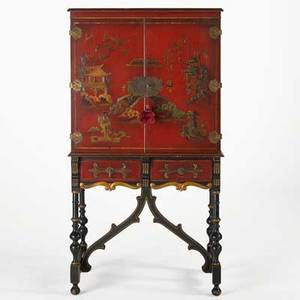 Asian cabinet red and black lacquer with chinoiserie decoration on two drawer stretcher base 20th c 64 x 34 12 x 17