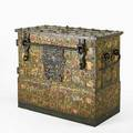 German iron valuables trunk paintdecorated with wrought iron hardware and locks 18th c inscribed stadt schlosser in nurnberg hat mich gemacht anno 1723 with maker mark hs 37 x 45 x 25
