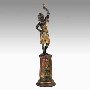 Blackamoor sculpture carved wood with polychrome decoration of a woman in african garb on pedestal base early 20th c 59 x 14 dia