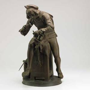 After adrien etienne gaudez french 18451902 bronze sculpture of a blacksmith working on a sword 19th20th c signed ae gaudez sc 25 12 x 13 12 x 16