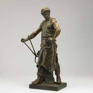 Emile louis picault french 18331915 bronze of a blacksmith with anvil and tongs 19th c signed 29