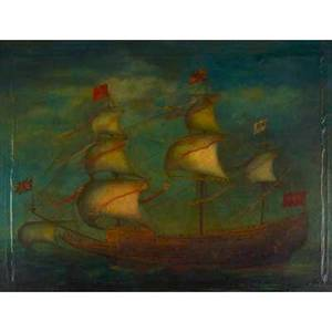 19th c european primitive painting oil on canvas mounted on panel of a british sailing ship framed 28 x 37