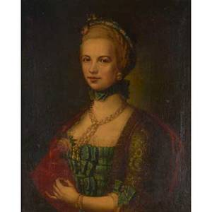 19th c european portrait oil on canvas portrait of a gentlewoman holding a rose framed 29 x 22