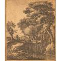 Anthonie waterloo dutch ca 16101690 etching of a figure by a watermill signed in plate 11 14 x 9 18