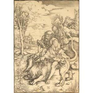 Albrecht durer german 14711528 engraving samson killing the lion 16th17th c framed shield and high crown water mark 15 x 10 34