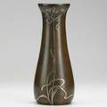 Heintz sterlingonbronze vase with foliate sterling overlay early 20th c 12