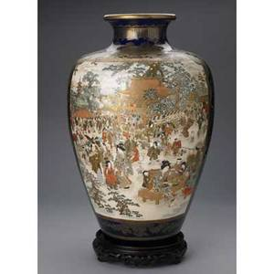 Japanese satsuma type palace vase one side depicting a festival scene the other with geese wisteria and chrysanthemum on cobalt ground early 20th c marked 23