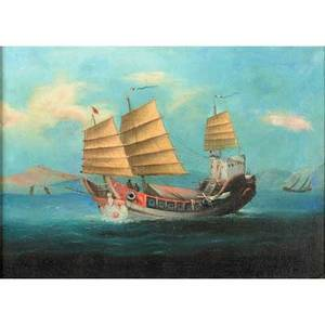 Chinese export painting oil on canvas laid down on masonite of a nautical scene 19th20th c framed 12 38 x 9