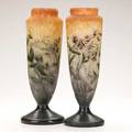 Muller freres pair of enameled cameo glass vases decorated with sweet pea 20th c signed mueller fres luneville 13