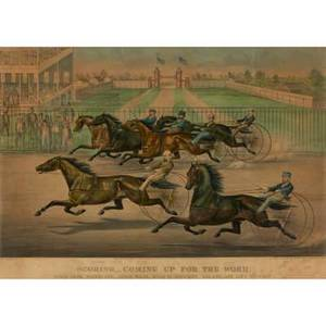 Nathaniel currier american 18131888 james ives american 18241895 handcolored lithograph scoring  coming up for the word 1869 framed 17 x 26 plate