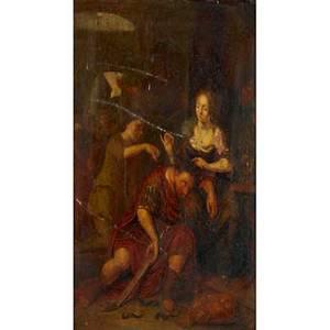 19th c european painting oil on panel of delilah cutting samsons hair framed 12 34 x 10