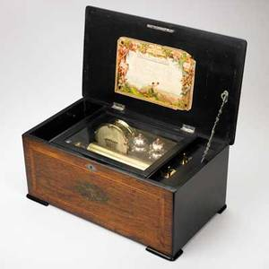 Swiss cylinder music box inlaid rosewood case eight tunes with drum and bells late 19th c 9 38 x 21 14 x 12