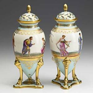 Style of royal vienna pair of porcelain vases depicting figures in roman garb with gilt decoration 19th c shield mark 9 14